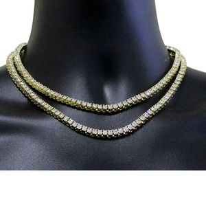 """Other - NEW Mens 2pc Chain Set Tennis Links 14k Gold 18"""""""